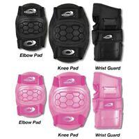 Osprey Kids 6 Piece Skate BMX Knee Elbow Wrist Pads Set Black Pink Boys Girls