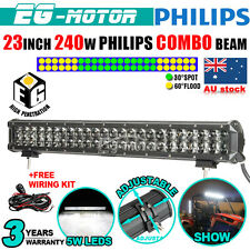 23INCH 240W PHILIPS LED Work Light Bar Flood Spot Driving Lamp SUV + WIRING KIT