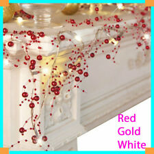 NEW Cordless Lighted Silver Berry-Beaded Holiday Christmas Garland 3 Colors 2020
