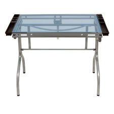 Studio Design Blue Glass Folding Art Drafting Desk Station Craft Table, Silver