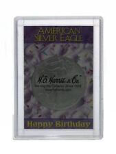 2016 American Silver Eagle gem BU w/ Happy Birthday 2x3 Frosty Case Coin Holder
