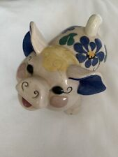 Vintage California Pottery Kay Finch Pink Pig Figurine Purple Ears Flowers Blond