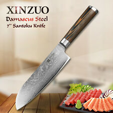 "XINZUO 7"" inches santoku knife Damascus kitchen knives sharp Japanese slicing"