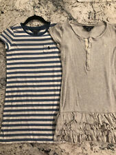 2 Polo Ralph Lauren Cotton Jersey T Shirt Dresses Stripe blue/White & Gray 8/10