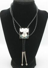 Rare ERNEST A ZUNIE Zuni BOLO TIE Sterling Silver Turquoise Big Horned Sheep Ram
