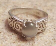 Circle Ring Size 7 Womens Fashion Silver White/Gray