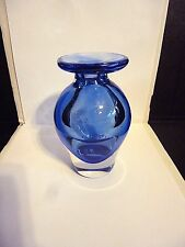 MID CENTRY MORDEN MURANO COBALT BLUE SOMMERSO FLAT TOP  VASE 5.5''TALL