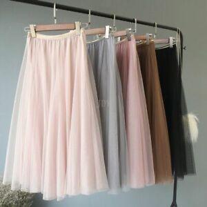 Damen Langrock Tutu Tüllrock 3 LayerA-linie Braut Party Hohe Taile Röcke mode