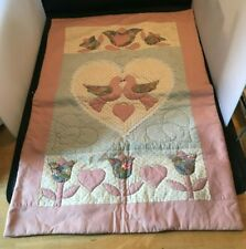 """Quilted Baby Blanket Birds Hearts Pink 35"""" x 21"""""""