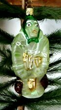 Inge's Christmas Heirlooms  Green Ghoul Ghost Glass Halloween Ornament Germany
