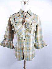 RALPH LAUREN Women's Linen Silk Check Victorian Frill Blouse Shirt Top sz M BD64
