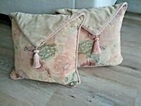Vintage Decorative Throw Pillows Set 2 Floral Tapestry & Rope Design Flap Tassel