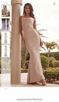 Lipsy Nude Cowl Neck Maxi Dress Women Ladies Pink Long Party Evening wear