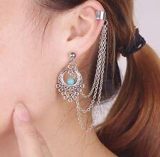 Women Punk waterdrop Chain Tassel Dangle Ear Stud Cuff Wrap Earrings Eardrop P29