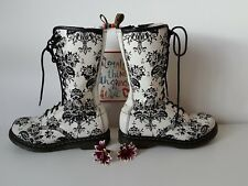 Rare Dr martens 14 eye black white floral 1b99 boots UK 6 EU 39
