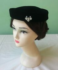 50s Vintage Hat. Black Velvet Pillbox. Jewelled.. Goodwood.