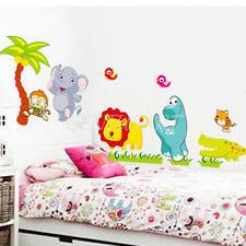 Wall Sticker Adesivo da Parete Rimovibile Animali Albero di Cocco Scimmia Leone