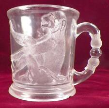 Antique Monkey with Diamond Base Mug EAPG Variant Clear Glass Rare As Is