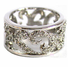 Womens Silver Tone Classic Scroll Filigree Clear Cubic Zirconia Cz Band Ring