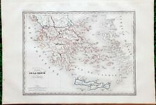 Grèce et de l'Archipel Superbe Carte Aquarellée sur Papier Vergé 41x28 Huot 1837
