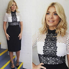 NWT ZARA BLACK & WHITE TUBE DRESS WITH LACE TOP SHIFT REF 4437/058 XS