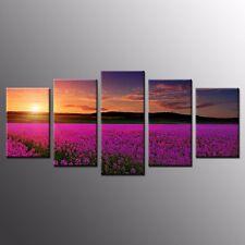 FRAMED 5 Panel Canvas Art Print Purple Flower Garden Canvas Wall Art Home Decor