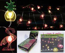 2x LED Lichterkette mit je 20 LEDs Flamingo Ananas Party Lichtgirlande Tischdeko