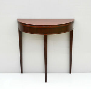 Antique Half Moon Mahogany Console Openable Round Table