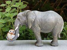 Miniature FAIRY GARDEN Figurine ~ Elephant Hugging Sleeping Owl w/ Trunk ~ NEW