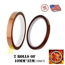 2 Rolls Heat Resistant Tapes Sublimation Press Transfer Thermal Tape 10mm105ft