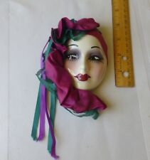 Unique Creations Ceramic Lady Face Mask Wall Hanging Decoration Collectible