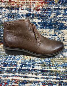 Dansko Joy Ankle Boot, Brown Burnished Nubuck Leather Women's Sz 39, 8