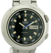Tissot T12 Ufo Vintage Herren Armbanduhr Edelstahl seltene 2 Kronen Uhr Ø 44mm