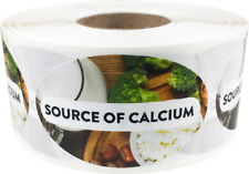 Source of Calcium Grocery Food Stickers, 1.25 x 2 Inches, 500 Labels on a Roll