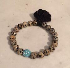 Dalmatian Jasper 10mm Stretch Bracelet Beadelle Turquoise Pave Bead Sari Tassel