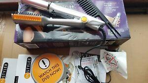 IN STYLER Rotating 360 Iron Hair Brush Thong Straightener Curler Volume Shine
