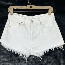 Levis 29 Cut Off Shorts Vintage 501 Button Fly White Denim Lightly Distressed