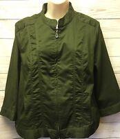 New CJ Banks Petite XL Stretch Cotton Twill Utility Zip Front Jacket Dark Green