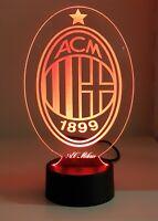 Lampada 3D MILAN led luce notturna multicolor rgb inciso idea regalo calcio A