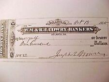 Rare & Fine, Civil War Governor, Joseph E. Brown, Georgia, Personal Check Signed