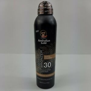 NEW Australian Gold Continuous Spray Sunscreen with Instant Bronzer spf 30 6 oz