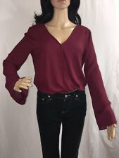 Charlotte Russe Sheer Blouse Small Burgundy Wrap Sexy Style Lightweight Shirt