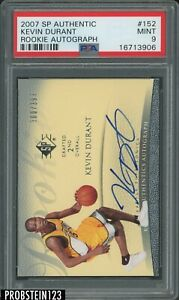 2007-08 SP Authentic Kevin Durant RC Rookie AUTO 300/399 Supersonics PSA 9 MINT