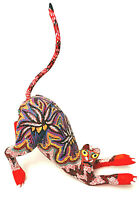 Folk Art Copal Wood Alebrije Oxacan Red Cat Figurine Pepe Santiago