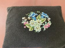 Vintage Needlepoint Pillow- 11x15- Black w/Bouquet-Feather Stuffed- VG- CHARMING