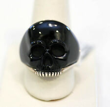 DAVID YURMAN Mens New Sterling Silver & Black Onyx  Carved Skull Ring 9.5