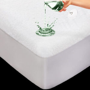 Waterproof Terry Towel Mattress Protector Fitted Sheet Bed Cover Non-Allergenic