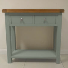 Camborne Painted Oak Console Table / Solid Grey Hallway Table / 2 Drawer / New