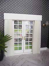 MINIATURE DOLL HOUSE  MINIATURE CURTAINS DRAPES FOR FRENCH DOORS IVORY VINE