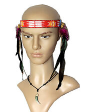 Indianer Stirnband LEDER Perlen lange schwarze Federn seitlich runter Kopfband